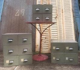Schönes Set alter Ablagekästen alte Schubladenschränkchen Metall Nr 0711-02