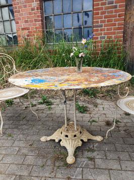 Antiker Gartentisch aus Frankreich bunt Nr 1306-01