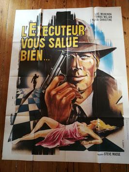 """altes Kinoplakat Filmposter XXL 160 x 120 cm """"L'executeur vous salue bien"""""""