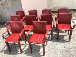 6er Set antike Mateo Grassi Designerstühle Leder Vintage
