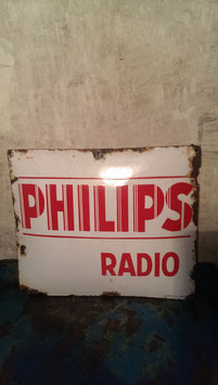 altes Emaille Schild Philips Radio