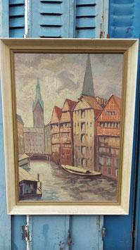 nr 0809 alte Bild Gemälde Öl oder Acryl Hamburg von 1955 gerahmt