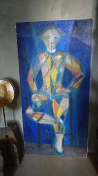 Bild Harlekin Acryl auf Leinwand aus den 70er Jahren