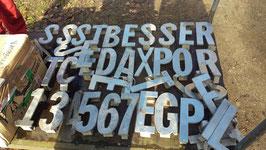 alte Zahlen Hausnummern aus Edelstahl Großschrift 24,5 cm Nr 1702-02