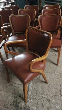 7er Set alte antike Stühle Art Déco Friseurstühle braun NR 0801-04