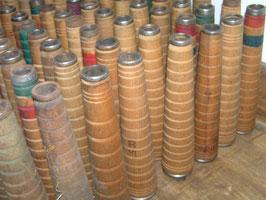 10er Set alte Textilrollen Garnrollen Eiche