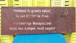alte lustiges Holzschild - französisch - deutsch