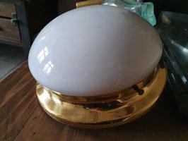 alte Messing Wandleuchte oder Deckenleuchte mit Opalglas Nr 0503-02