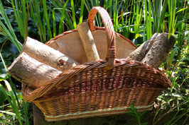 Holztrage eckig naturbraun Innenfutter Jute