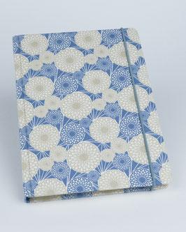 Notizbuch japanische Chrysanthemen blau