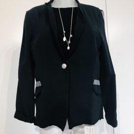 Schwarzer Soft-Blazer im Used Look mit silbernen Details