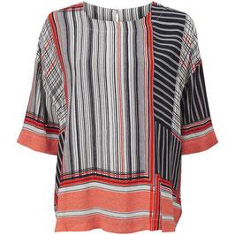 Masai Bluse Degana (schwarz--weiß-rot-gestreift) kurzarm