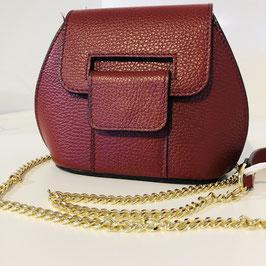 Handtasche  zum Umhängen dunkelrot mit goldenen Details
