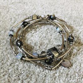 Armband silber/grau mit Stäbchen und Steinchen, 3-reihig in 2 Varianten