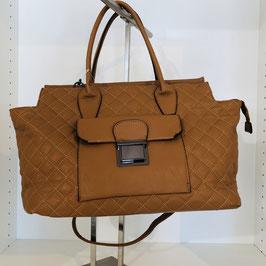 Hellbraune Handtasche abgesteppt mit zusätzlicher Außentasche