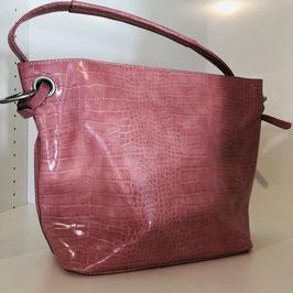 Pinke Tasche im Croco-Look - glänzend