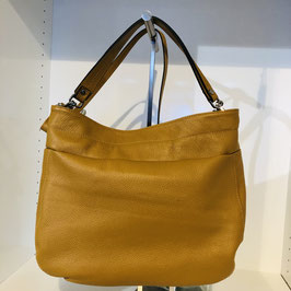 Curry-goldene braune Echtleder-Handtasche