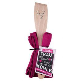 Holz-Pfannenwender mit Geschirrtuch in 2 Varianten