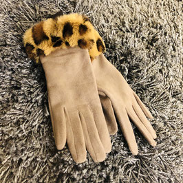 Camel-farbene Handschuhe mit Leo-Bund