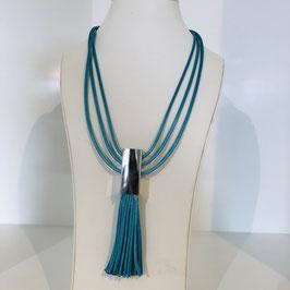 Kette Türkis-Blau mit Quaste