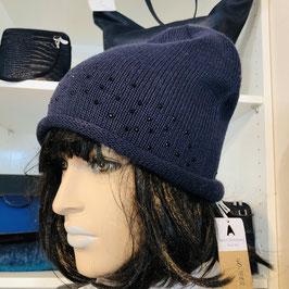 Blaue Mütze mit Strass-Steinen