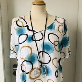 Weißes leichtes Kleid mit goldenen,schwarzen und  hellblauen Kreisen- Größe M