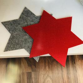 Filz-Untersetzer in Stern-Form in Rot oder Grau