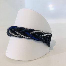 Armband Blau Strass geflochten mit Druckknopf
