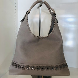 Braun-graue Tasche mit Blumen-Applikationen