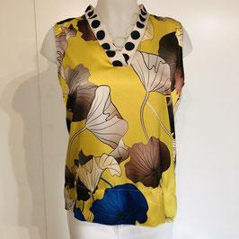 Gelbe ärmellose Bluse mit farbigem Print