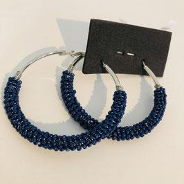 Blau-silberne Creolen
