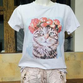 Weißes T-Shirt mit Katzen-Print und Strass