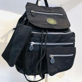 Schwarzer Textil-Rucksack mit praktischer Unterteilung