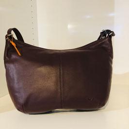 Dunkelbraune Glattleder-Handtasche von VOI zum Umhängen