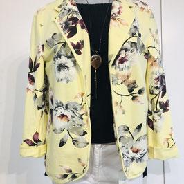 Gelber Soft-Blazer mit Blumen in Größe S/M