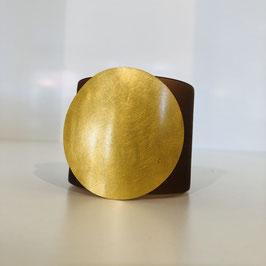 Designer-Armreif Petra Meiren und dunkelbraun mit goldenem Kreis