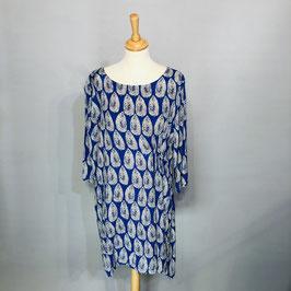 Königsblaues Kleid von Masai mit weißen Blättern