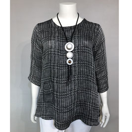 Bluse grau/schwarz/weiß