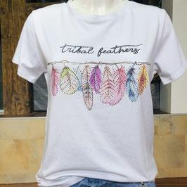 Weißes Tshirt mit Federprint und Strass-Details Gr. XL