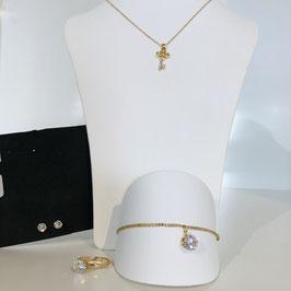 Schmuck-Set gold 4-teilig - Armband, Ring, Kette, Ohrringe