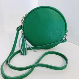 Runde Handtasche mit Quaste grün
