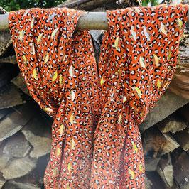Orangener Schal mit Leo-Print und goldenen Print-Details