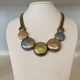 3-farbige Halkette mit runden Elementen in Silber, Gold, Rosegold