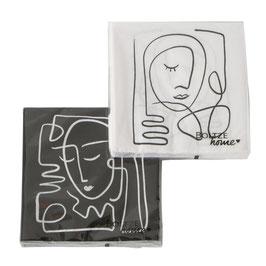 Servietten mit Kunst-Print  schwarz/weiß