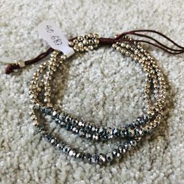 Armband Hellgrau/Silber glänzend, 3 Stränge