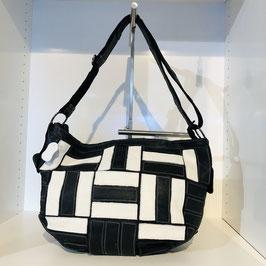 Handtasche Echtleder schwarz/weiß gemustert