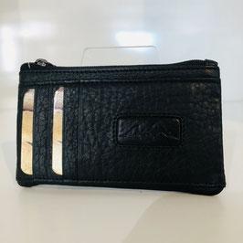 Karten-/Geldmäppchen schwarz  aus genarbtem Leder