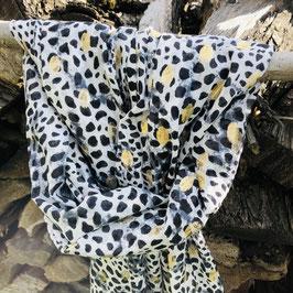 Schwarz-weiß getupfter Schal mit goldenen Print Details
