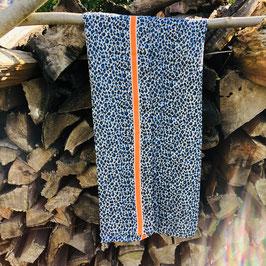 Blauer Schal mit Leo-Print und orangenem Streifen
