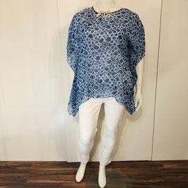 Leichte Adini-Bluse in Blau-Weiß - Einheitsgröße